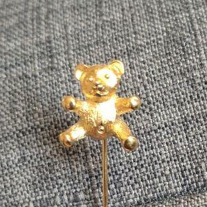Trifari Bear Animal Gold Lapel Pin, Super Cute